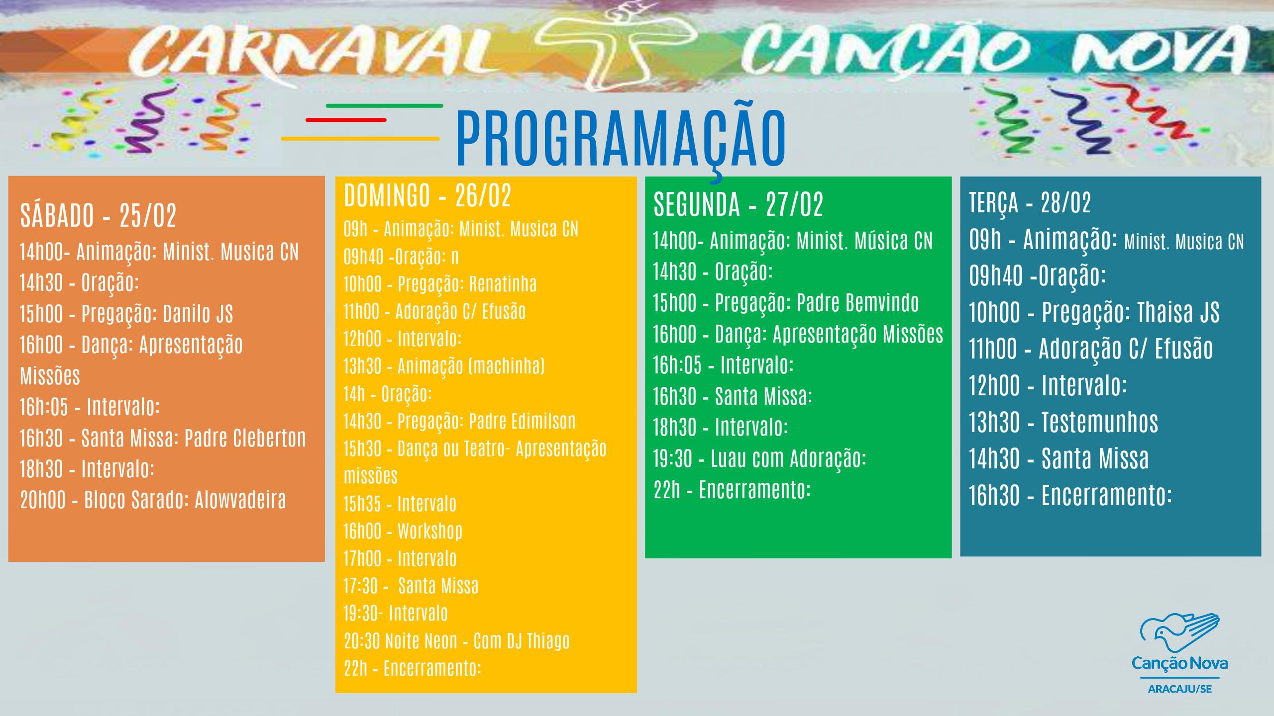 programação carnaval