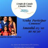 Nesta sexta-feira, dia 5, tem Grupo de Casais aqui na Canção Nova Campos!