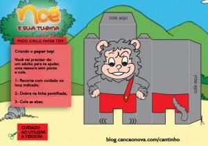 brinquedo de papel do mico cirilo