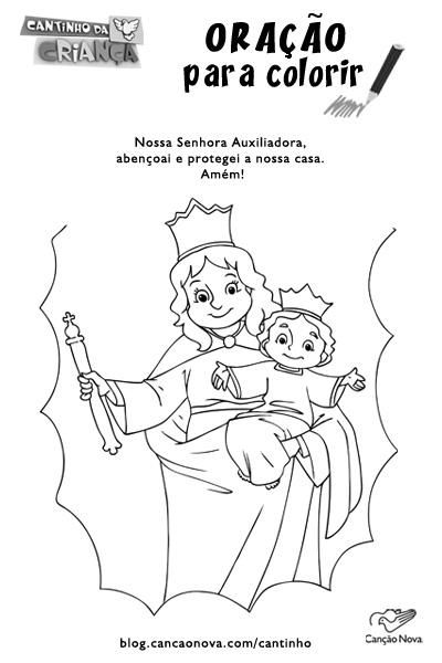 desenho de Nossa Senhora Auxiliadora para colorir