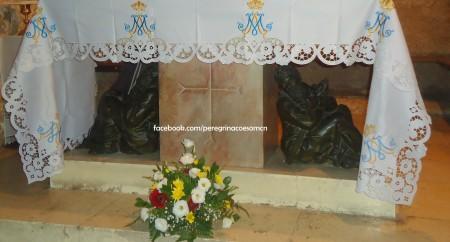 Altar da Capela do Getsemani, encontramos os discípulos dormindo enquanto esperavam Jesus.