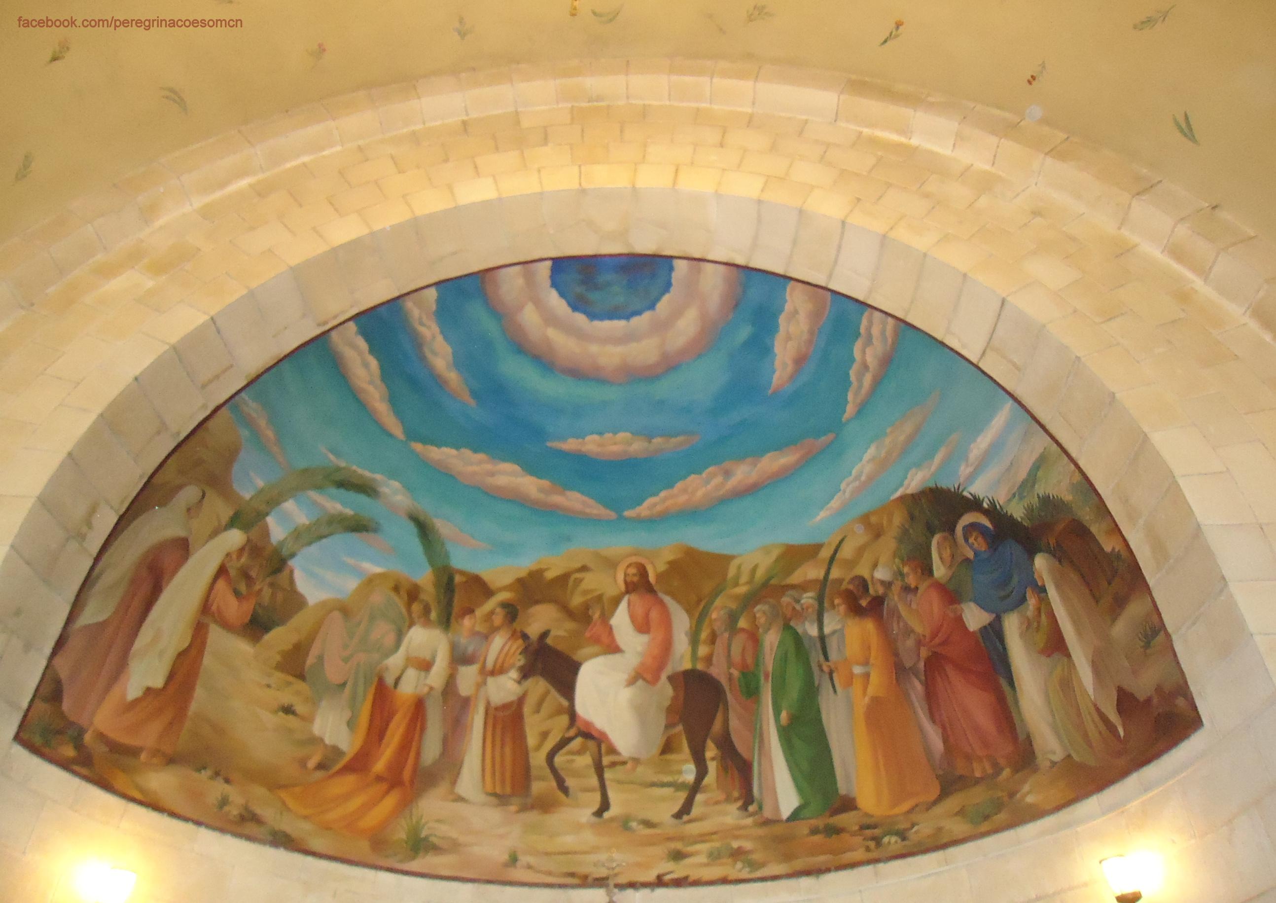 Montado em um jumento, Jesus sai de Betfagé onde se inicia a Semana Santa