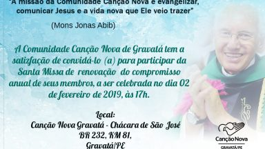 Compromisso anual dos membros da Canção Nova em Gravatá - 02 de fevereiro