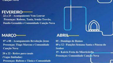 Agenda de eventos da Canção Nova Gravatá - 1º Semestre de 2020