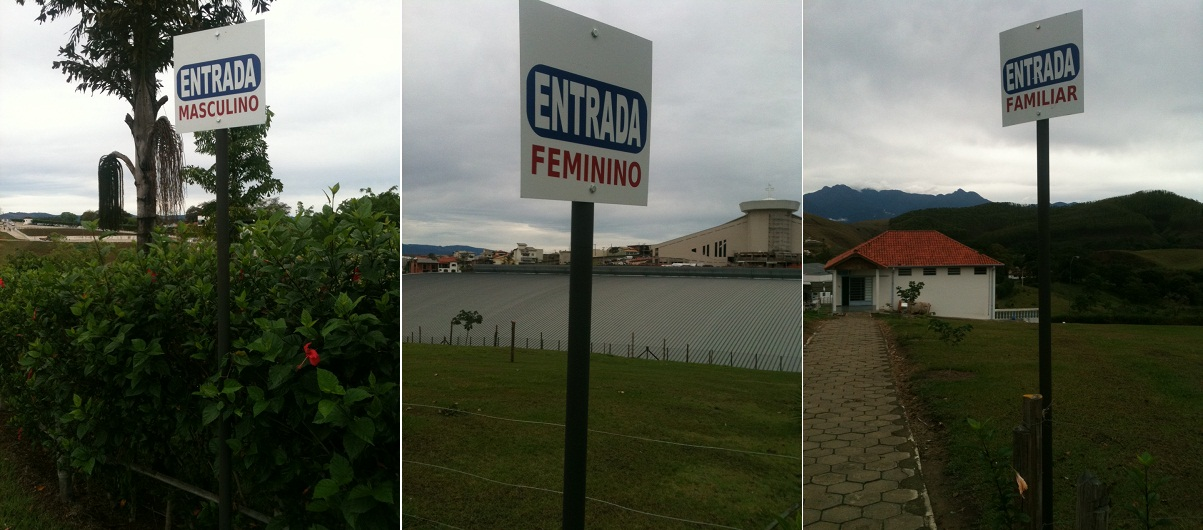 Placas na entrada unica do Camping