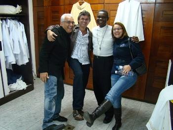 Ricardo Sá,Gerson Abarca,Pe. José Augusto, Eliana Sá. Após Missa no sábado do acampamento para namorados e noivos