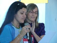 Instrutoras Celina e Rogélia durante o curso do MOB