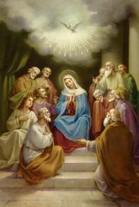 O derramamento do Espírito Santo em Pentecostes e a sua relação com a Virgem Maria.