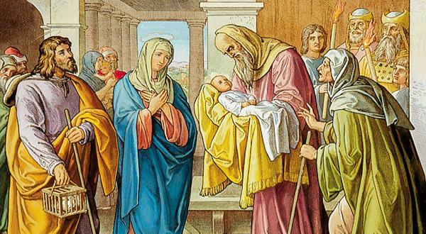 Meditemos sobre a Apresentação de Jesus Cristo, a profecia do velho Simeão e a dor da Virgem Maria.