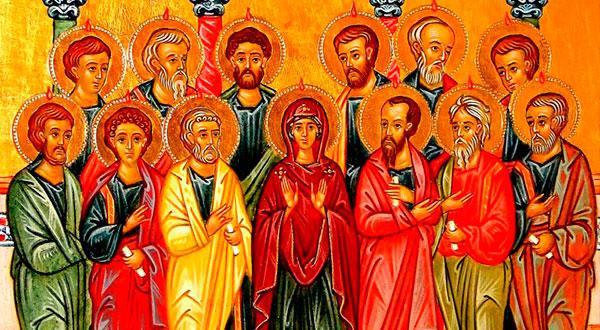 No cenáculo em Jerusalém, a presença orante da Virgem Maria no Pentecostes expressa o seu lugar especialíssimo na Igreja Católica.