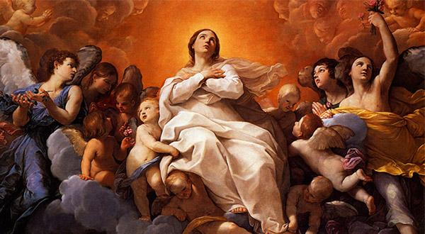 """Meditemos sobre o mistério da Assunção da Virgem Maria e a sua glória no Reino dos Céus: """"...me proclamarão bem-aventurada todas as gerações, porque realizou em mim maravilhas aquele que é poderoso e cujo nome é Santo"""" (Lc 1, 48-49)."""