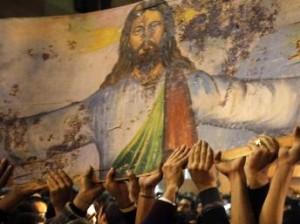 Imagem manchada com sangue de cristãos em atentado no Egito. DESTRAVE.COM